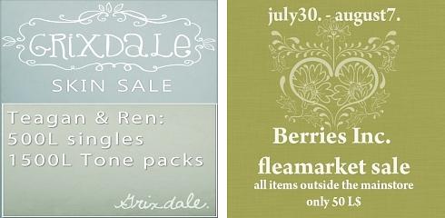 Skin Sale @ Grixdale & Fleamarket Sale @ Berries Inc. in Second Life