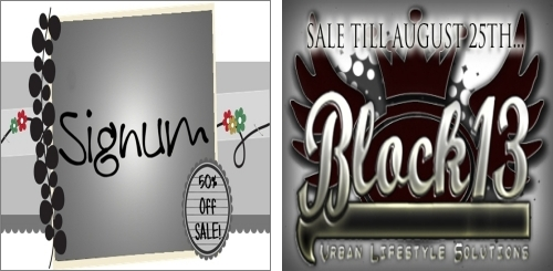 50% off Sale @ Signum & Final Sale @ Block 13