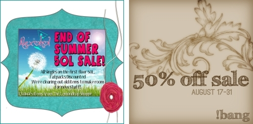 End of Summer Sale @ Alexohol & 50% off Sale @ !bang