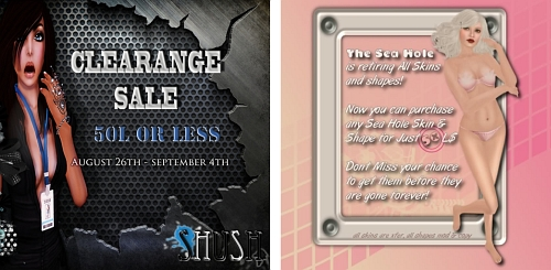 Clearance Sale @ SHUSH & 50L Sale @ The Sea Hole in Second Life