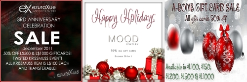 3 Gift Card Sales in Second Life