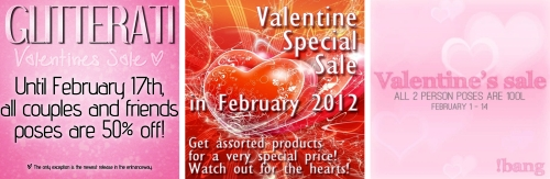 3 Valentine's Sales in Second Life