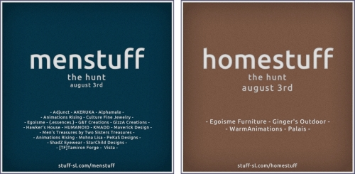 Menstuff Hunt and Homestuff Hunt in Second Life
