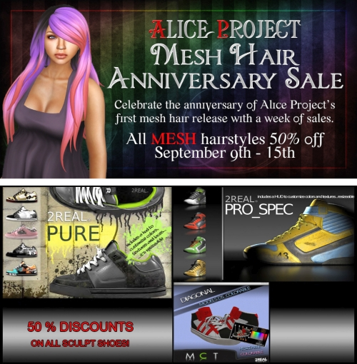 Mesh Hair Sale & Shoes Sale in Second Life