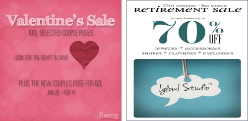 Valentine's Sale @ !bang & Retirement Sale @ [glow] Studio in Second Life
